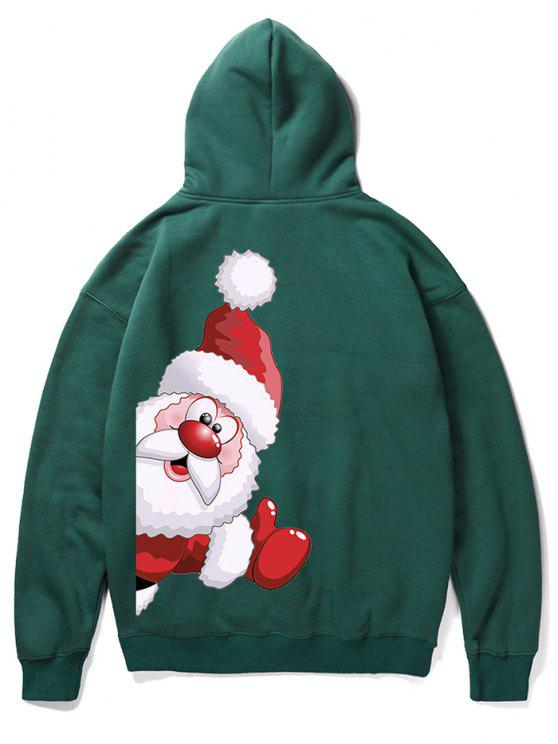 fashion Santa Claus Kangaroo Pocket Pullover Hoodie - MEDIUM SEA GREEN XL