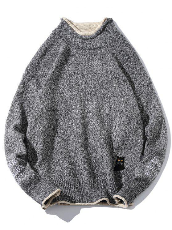 rivenditore online economico per lo sconto stili diversi Maglione Con Ricamo Gatto PUCE LIGHT KHAKI CARBON GRAY