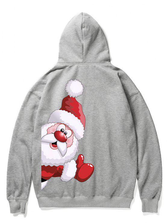 shop Santa Claus Kangaroo Pocket Pullover Hoodie - GRAY CLOUD L