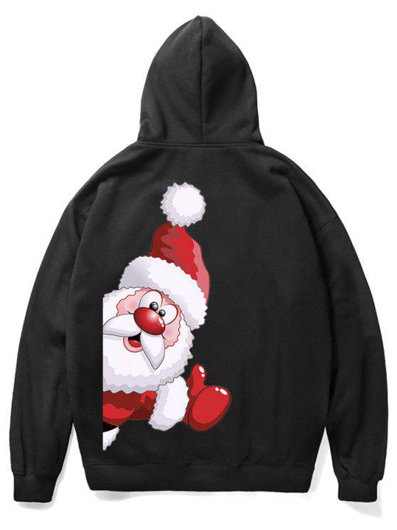chic Santa Claus Kangaroo Pocket Pullover Hoodie - BLACK L