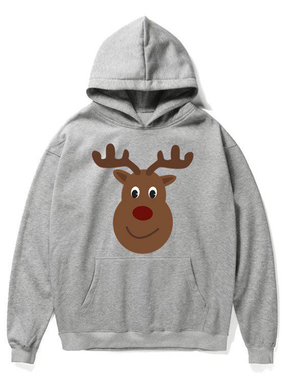 women Cartoon Christmas Elk Printed Pullover Hoodie - GRAY CLOUD XL
