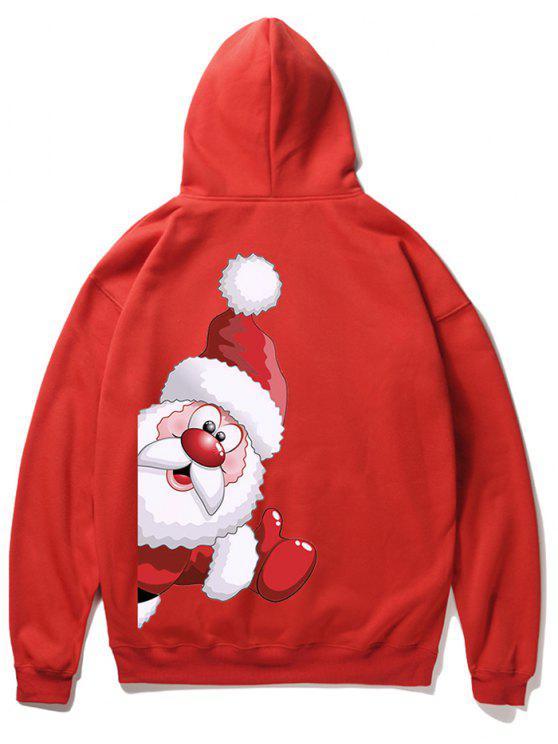 ladies Santa Claus Kangaroo Pocket Pullover Hoodie - LAVA RED S