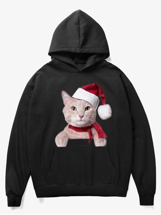 latest Kangaroo Pocket Christmas Cat Pattern Hoodie - BLACK XL