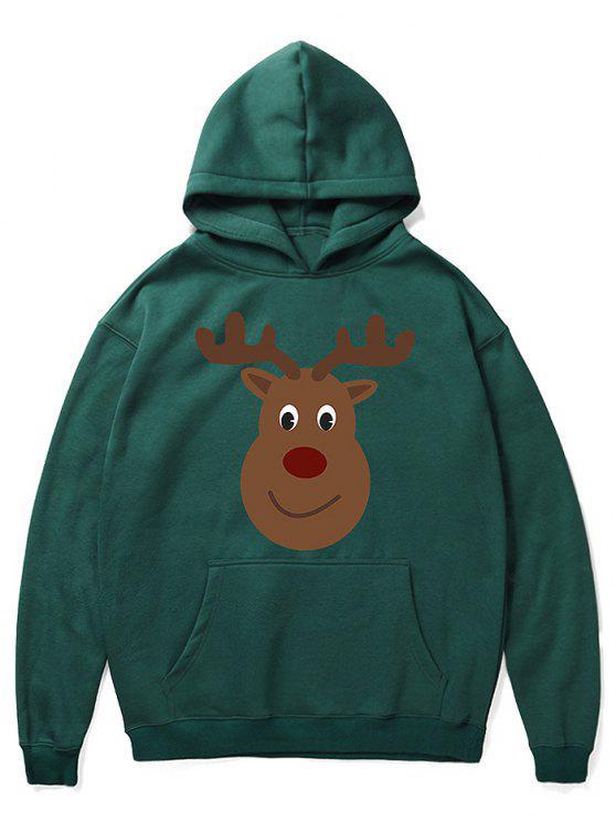 fancy Cartoon Christmas Elk Printed Pullover Hoodie - MEDIUM SEA GREEN 2XL