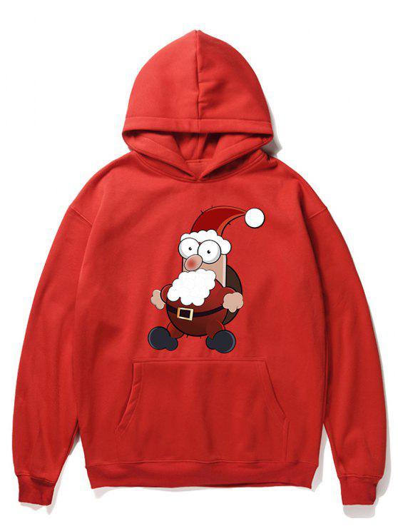 chic Cartoon Santa Claus Pullover Fleece Hoodie - LAVA RED M