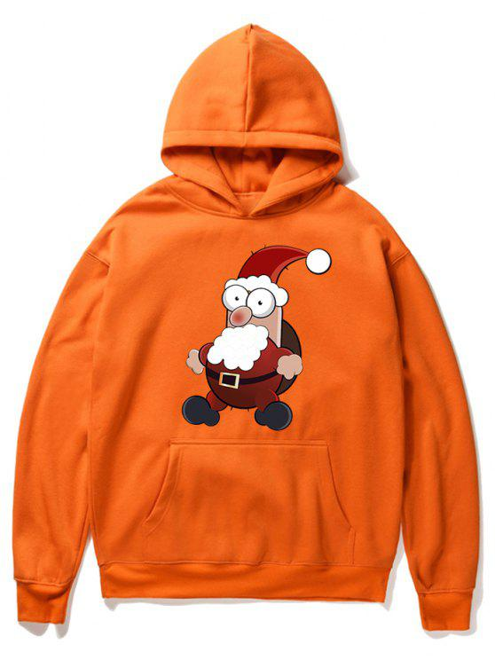 women Cartoon Santa Claus Pullover Fleece Hoodie - ORANGE 2XL