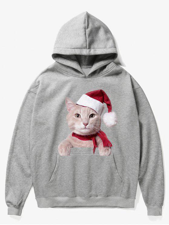 women's Kangaroo Pocket Christmas Cat Pattern Hoodie - GRAY CLOUD XL