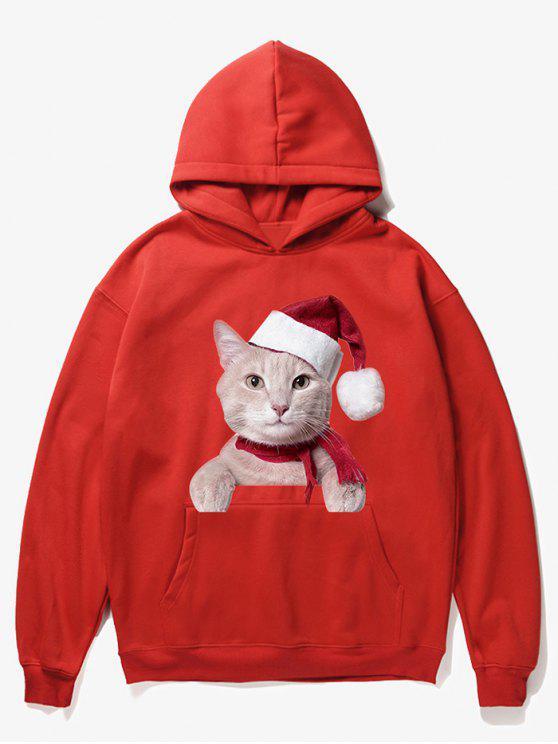 lady Kangaroo Pocket Christmas Cat Pattern Hoodie - LAVA RED L