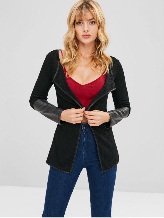 fancy Faux Leather Panels Cardigan - BLACK XL