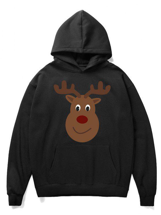 sale Cartoon Christmas Elk Printed Pullover Hoodie - BLACK L