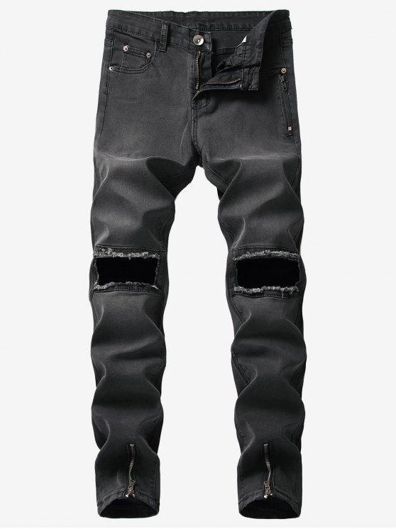 new Hem Zipper Knee Hole Jeans - BLACK 38