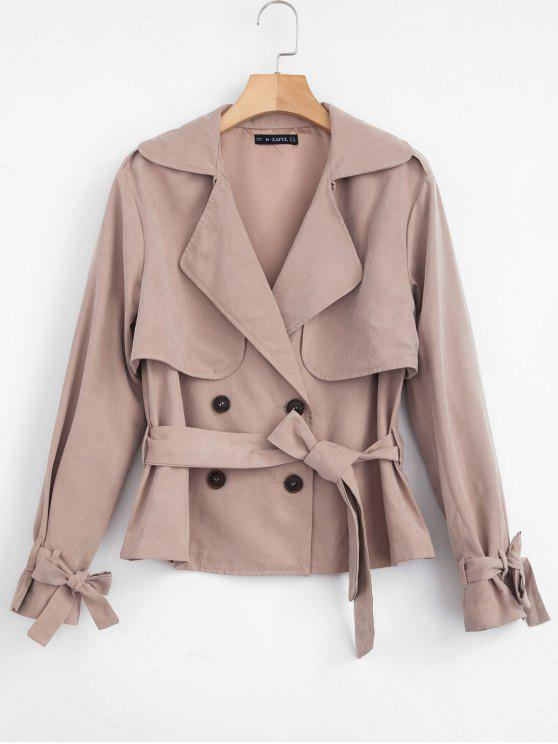 chic ZAFUL Double Breasted Trench Coat with Belt - KHAKI ROSE M