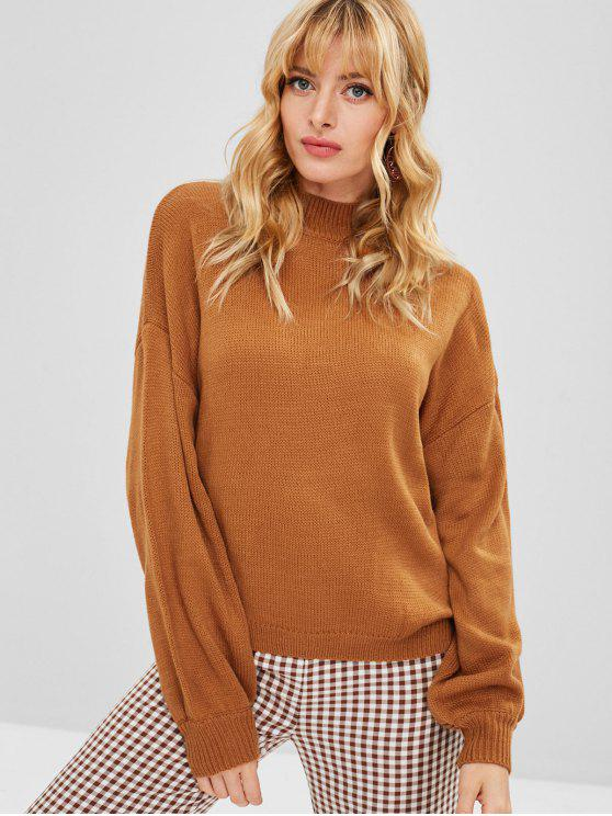 new ZAFUL Mock Neck Solid Color Sweater - LIGHT BROWN L