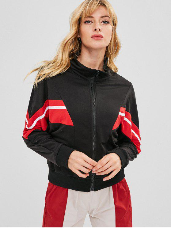 hot ZAFUL Contrast Stripes Zip Up Jacket - BLACK M
