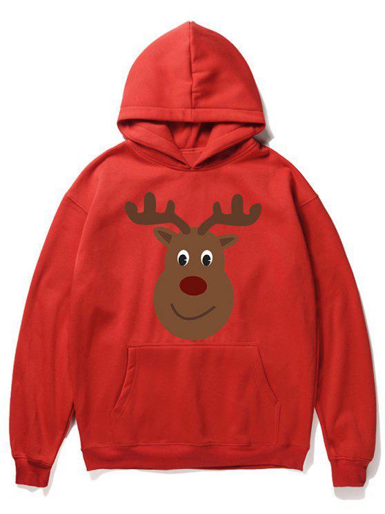sale Cartoon Christmas Elk Printed Pullover Hoodie - LAVA RED M