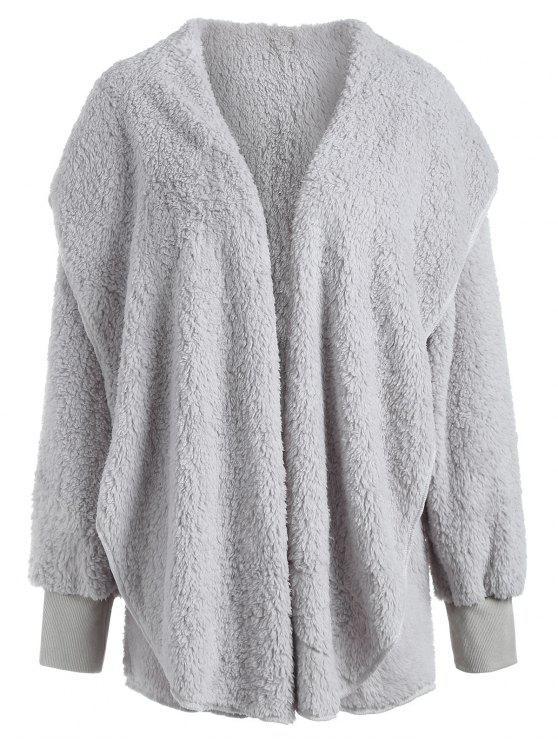 unique ZAFUL Plain Shawl Collar Fluffy Teddy Coat - LIGHT GRAY M