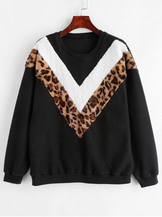 buy ZAFUL Contrast Leopard Fluffy Sweatshirt - BLACK S