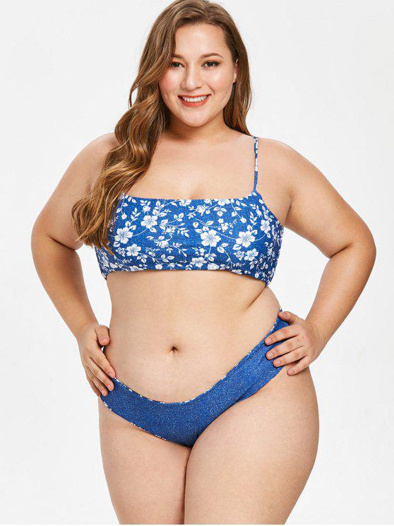 ZAFUL Floral Faux Denim Plus Size Bikini Set - Bleu 3X