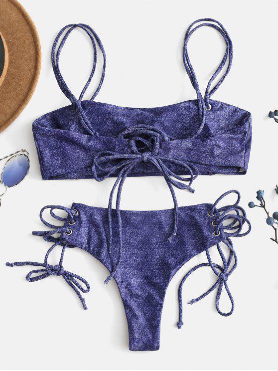 Lacets Bretelle Faux L De DenimBleu Ensemble À Marine Bikini Zaful En 5RLA4j