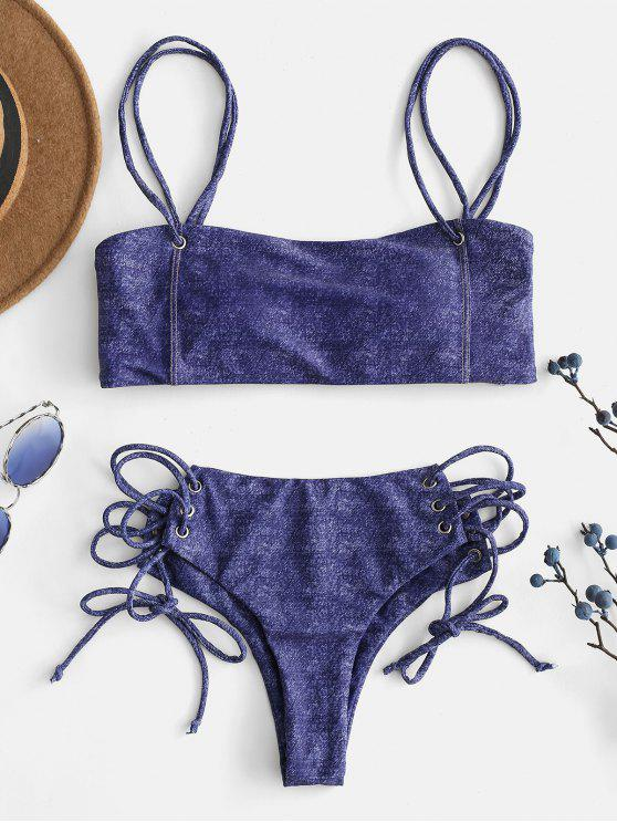 latest ZAFUL Faux Denim Lace Up Cami Bikini Set - NAVY BLUE L