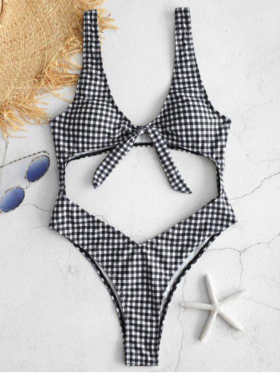 ZAFUL Plaid Knotted Cutout Swimsuit - Preto L