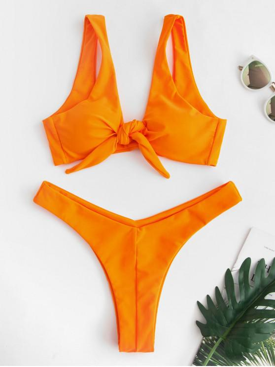 outfits ZAFUL Tie Front High Leg Tank Bikini Swimsuit - TANGERINE S