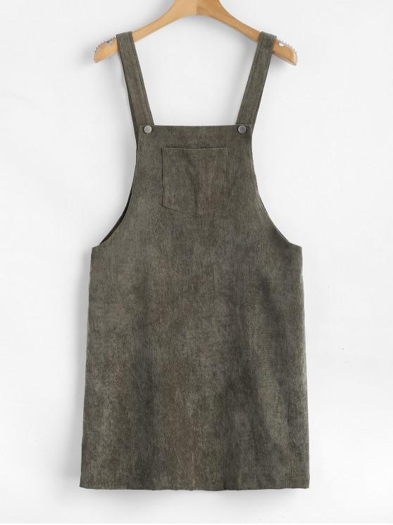 fashion ZAFUL Front Pocket Corduroy Pinafore Dress - CAMOUFLAGE GREEN M