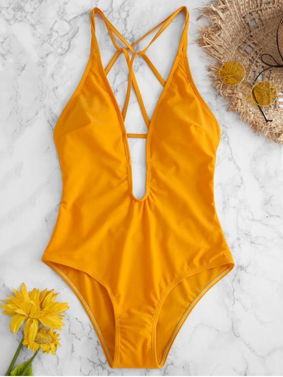 32a76c9d3406 ZAFUL Traje de baño con tirantes y pierna alta - Amarillo Brillante L