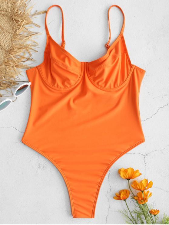84205b17911 18% OFF] 2019 ZAFUL High Cut Thong One-piece Swimsuit In ORANGE | ZAFUL