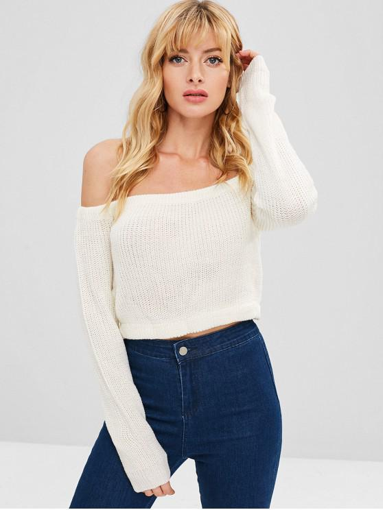 womens ZAFUL Off Shoulder Crop Chunky Sweater - WHITE M