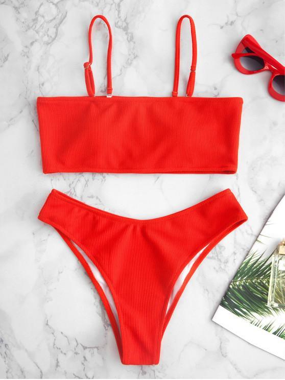 trendy Ribbed Texture Bandeau Bikini - RED M