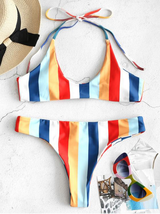 51e0fdde35cf12 23% OFF  2019 ZAFUL Rainbow Striped Halter Bikini Set In MULTI