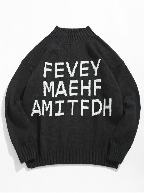 women High Neck Letter Printed Pullover Sweater - BLACK 2XL