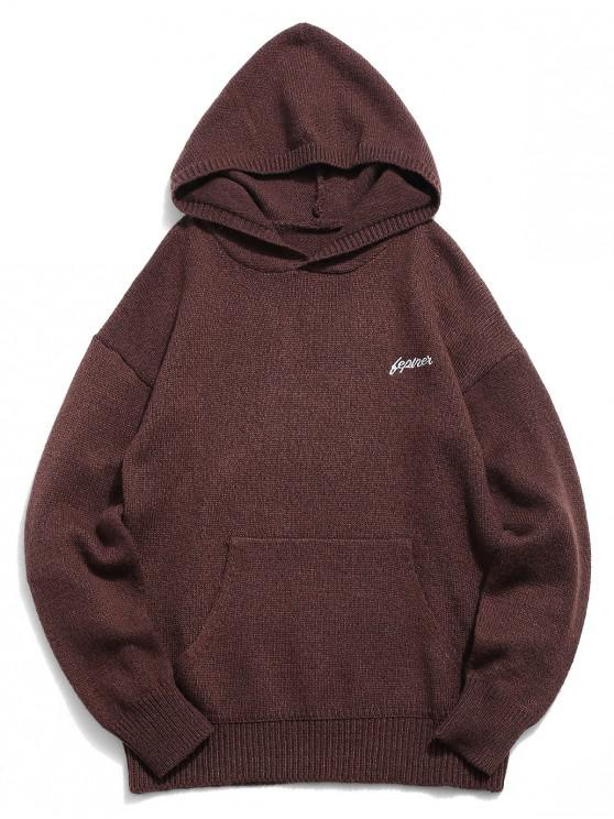 buy Solid Color Hooded Pullover Sweater - COFFEE XL