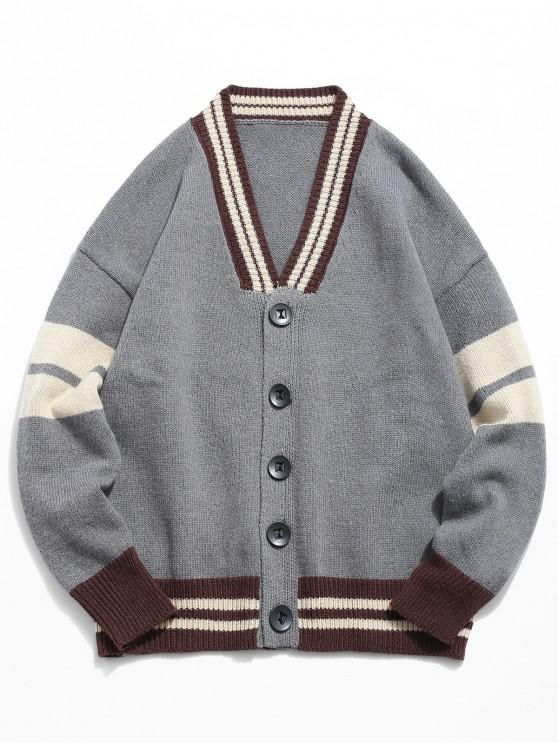 online Button Fly Color Spliced Kintted Cardigan - GRAY 2XL