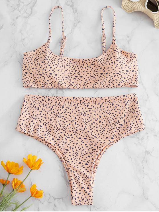 outfit ZAFUL High Leg Dots Print Bikini Set - DEEP PEACH M
