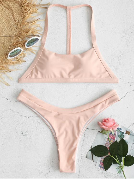chic ZAFUL Y Line High Leg Bikini Set - PIG PINK S