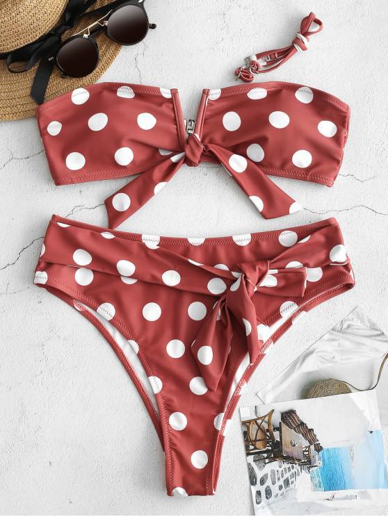 online ZAFUL Tied Polka Dot Bikini Set - TULIP PINK L