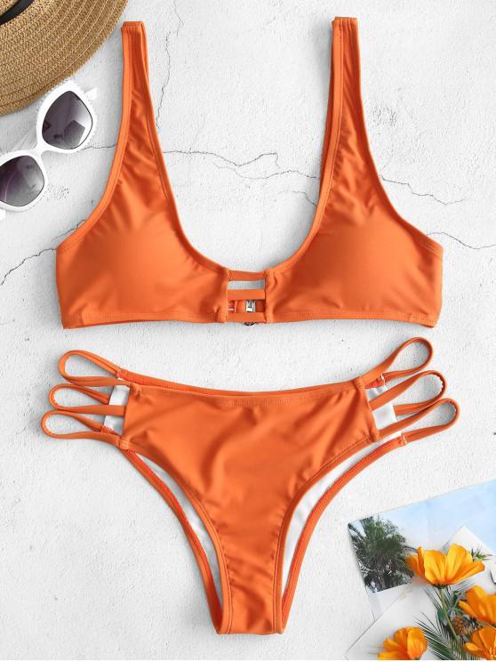 ladies ZAFUL Plunge Strappy Bikini Set - DARK ORANGE M