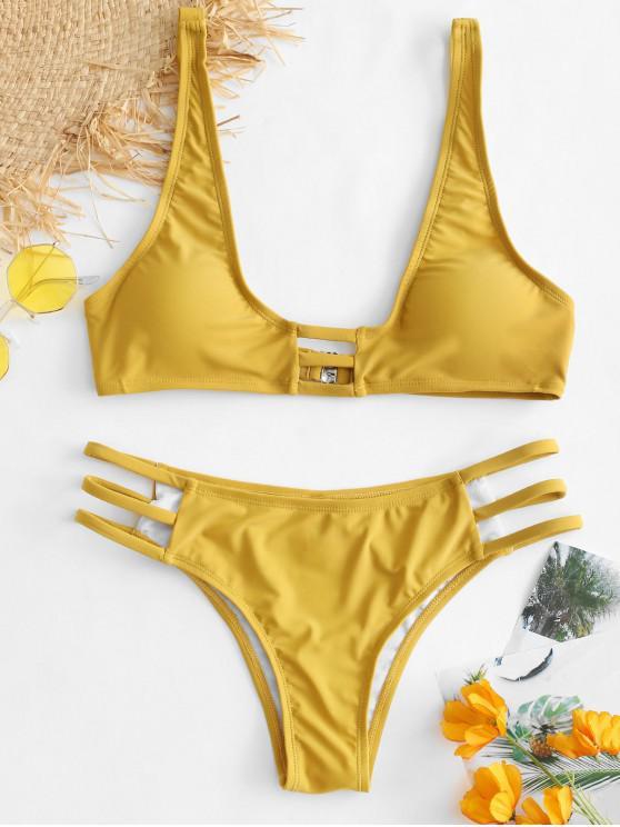 unique ZAFUL Plunge Strappy Bikini Set - GOLDEN BROWN S