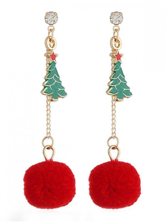 Stylish Christmas Tree Pom Pom Drop Earrings - متعدد