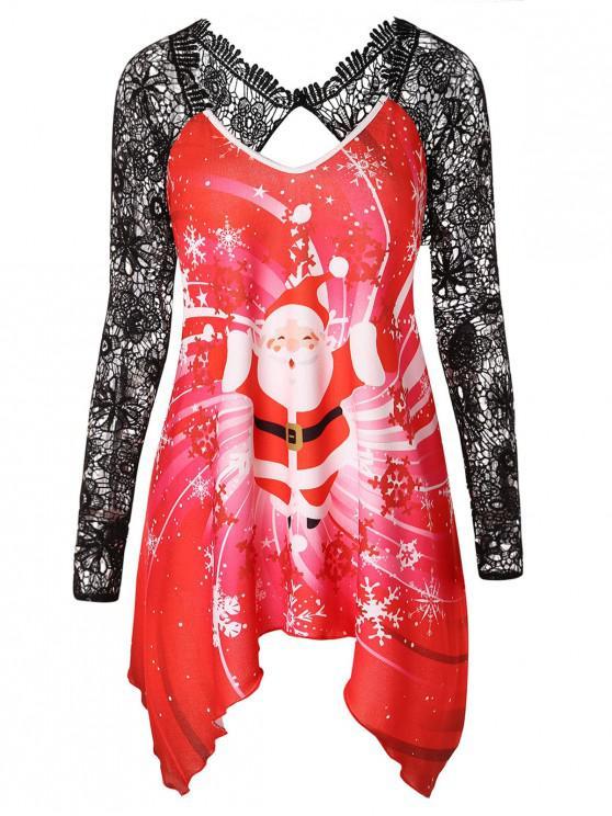 sale Plus Size Christmas Santa Claus Print T-shirt - RED 4X