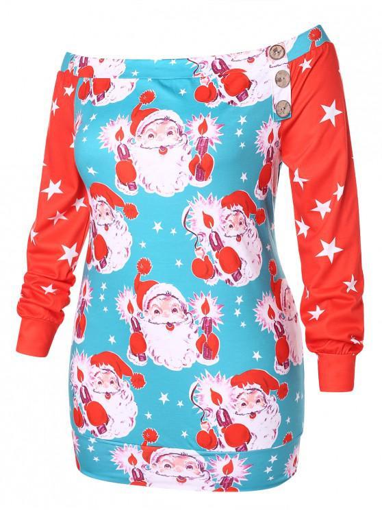 buy Plus Size Star and Santa Claus Print Sweatshirt - MULTI L