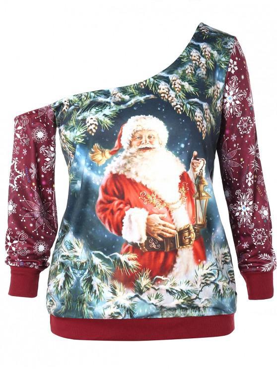 lady Plus Size Skew Neck Santa Claus Sweatshirt - MULTI 2X