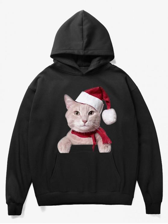 shops Kangaroo Pocket Christmas Cat Pattern Hoodie - BLACK M