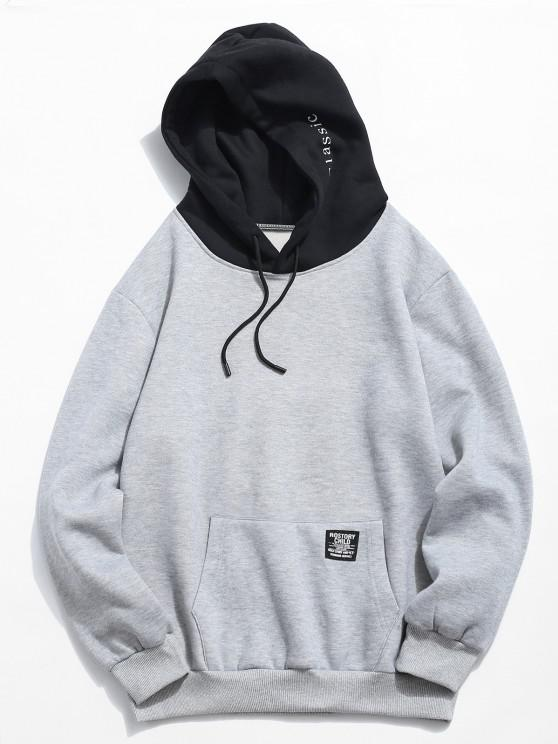 womens Color-blocking Letter Patch Detail Pouch Pocket Fleece Hoodie - LIGHT GRAY XS