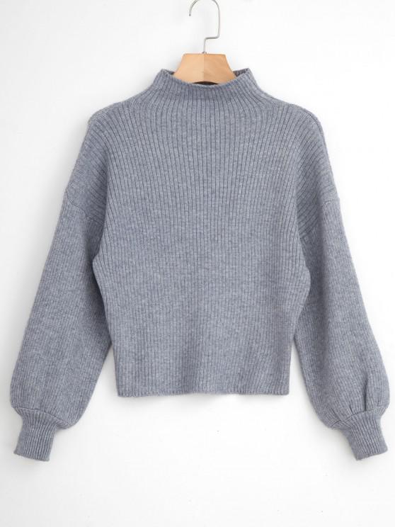 Suétercom pulôver de gola de funil - Cinzento Um Tamanho