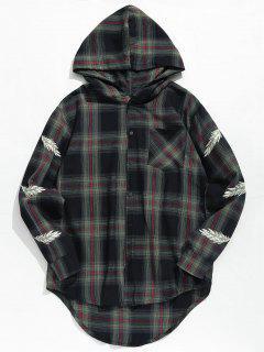 Feather Print Plaid Hooded Shirt - Black M