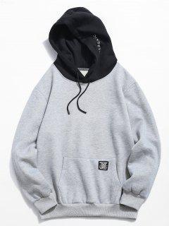 Color Block Letter Patch Detail Pouch Pocket Fleece Hoodie - Light Gray Xs