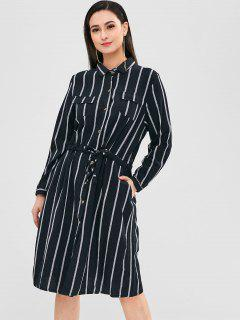 Button Front Striped Pocket Dress - Black